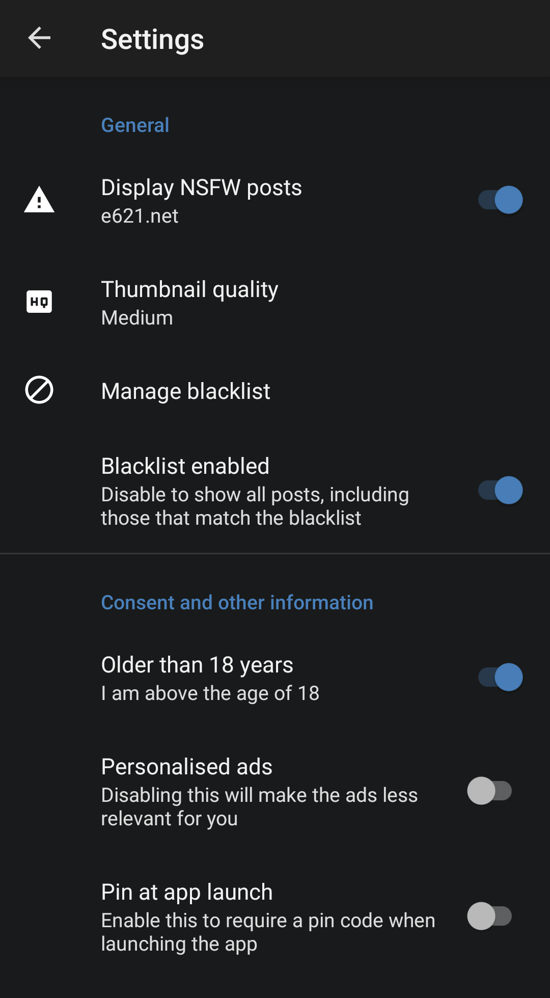 Many settings to customise the app